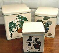 Vintage Canister Set - Metal Tins Botanical Fruit Kitchenware Canisters