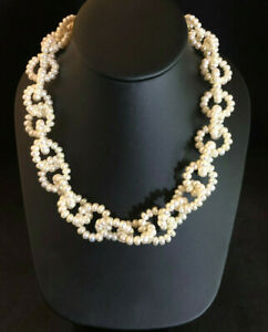 Freshwater Pearl Necklace White Rolo Link Chain Chunky 925 Sterling Silver #1521