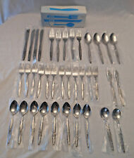 37 pc Japan FLATWARE Stainless most wrapped satin handle single rose