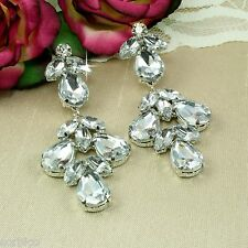 E7 Prom, Party, Evening, Large Crystal Teardrop Chandelier Dangle Stud Earrings