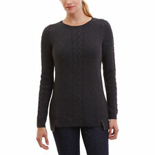 NEW NAUTICA Women's Single Cable Knit Tunic Sweater Charcoal S