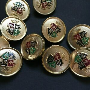 Knöpfe.Buttons.Tasten 10st...Französische Lilie.Wappen.Gold.Knoppen.Mantelknöpfe