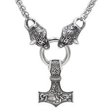 Men's Vintage Silver Norse Viking Wolf&Thor Hammer Mjolnir Pendant Necklace Z1