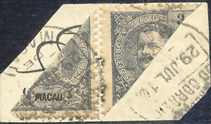 MACAU 1910, 3 A. King Carlos I, two BISECTS on small piece, one stamp creased R!