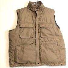 Doni Down Winter Vest L Mens Khaki Tan Large  Warm Duck Down Hood Cargo Pocket