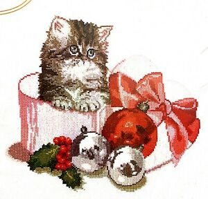 """Thea Gouverneur """"Christmas Kitten"""" Cute Holidays Counted Cross Stitch Kit"""