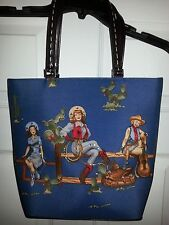 3 Cowgirls  Beaded & Sequin Embellished one side  blue bag purse with handle