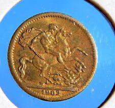 RARE 1902 By J. J Lauer SOUVENIR Sovereign (Great Britain) Nice Brass Coin/Token