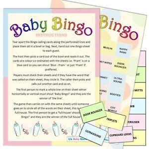 BABY SHOWER BINGO [20 Guest] Unisex, Party, Game, Boy, Girl, Spotty, Lemon,