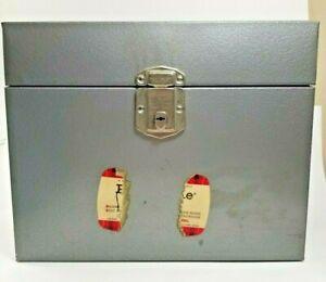 Vintage Hamilton Porta-File Scotch metal silver storage box NO Key office home