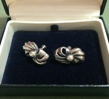 LOVELY STERLING SILVER VINTAGE EARRINGS - GOOD WEIGHT - SCREWBACK STYLE