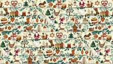 Fat Quarter Metallic Christmas Icons Holiday 100% Cotton Quilting Fabric Makower