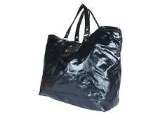 GUCCI Logo Nylon PVC Coating Canvas Leather Black Large Tote Bag, Shoulder Bag