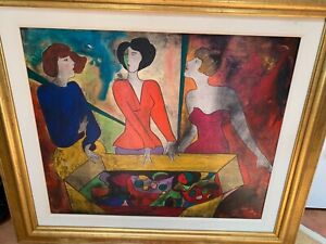 "Linda Le Kinff oil painting wood signed ""Les Stylistes Paris 1996"" to reverse"