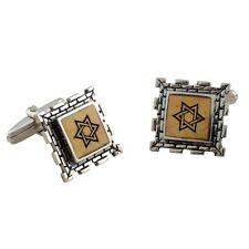 New Sterling Silver Star Of David Judaica Mens Cufflinks Square Jerusalem Stone