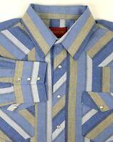 Rustler Pearl Snap Shirt Size XL Western X-Long Tails Blue & Tan Stripes