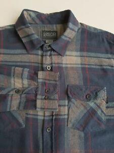 Valor Mens Lightweight Flannel Plaid Shirt Dark Check Cotton Grunge *M* TR63