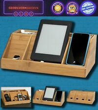 Charging Station Organizer Bamboo Multi Device Charger Stand Mountable Adapters