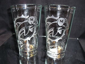 MIAMI DOLPHINS RETRO 2 ETCHED LOGO PINT GLASSES 16 oz NEW