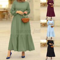 Muslim UK Womens Long Sleeve Solid Tunic Tiered Layered Kaftan Baggy Maxi Dress