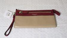 NWT Coach Legacy Leather 2-tone Deep Port Khaki Colorblock Zipper Wristlet 50039