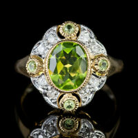 PERIDOT DIAMOND CLUSTER RING 9CT GOLD