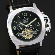 FORSINING New Date Stainless Steel Auto Mechanical Leather Wrist Watch Mens Xmas