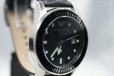 ARMANI Herrenuhr  AR0555  LUXUS Uhr schwarz Datum Lederarmband EDEL RAR NEU