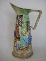 "Vintage E. Radford England Art Pottery Hand Painted Pitcher Vase 11"" Tall"
