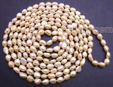 "Long 80"" Pink 7-9mm BAROQUE Natural Freshwater Pearl Necklace for Women n5805"