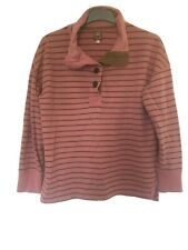 Joules Winens Stripy Pink/Brown Cotton Long Sleeve Blouse 14(C785)