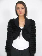 DE ROTCHILD BLACK RABBIT FUR TIED CROP SHRUG BOLERO JACKET COAT EVENING PARTY~M