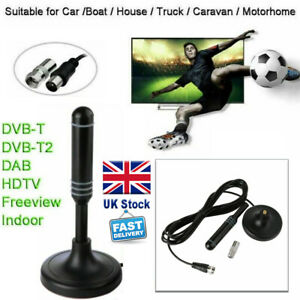 Portable TV Digital HD Freeview Aerial Ariel DAB/FM Indoor Outdoor Car House UK