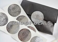 """50 Silver Round sticker seals Large embossed metallic foil stickers 2"""""""
