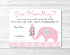 "Pink Elephant Chevron Baby Shower ""Guess How Many?"" Game Cards Printable"
