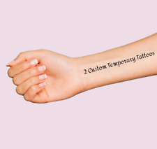 2 Custom Temporary Tattoos Personalize YOUR Name or Phrase 9 Fonts Fake Body Art