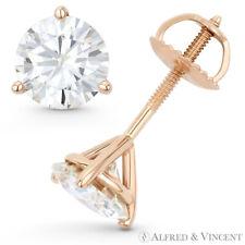 Round Cut Forever Brilliant Moissanite 14k Rose Gold 3Pr Screwback Stud Earrings