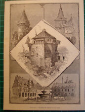 Goslar Germany antique print 1892 holzstich stampa antica