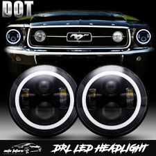 DOT CREE LED Hi Lo Projector 7 Inch Round Headlights For Ford Mustang 1965-1978