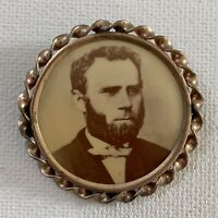 Antique Victorian Photograph Mourning Jewelry Brooch Pin Handsome Man Beard