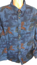 Mens XXL Peasant Print Bird Hunting Themed Long Sleeve Shirt 100% Cotton
