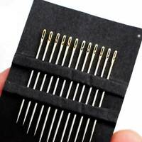 12PCS Lots Stainless Steel Self-Threading Needles Side Opening Sewing Darning
