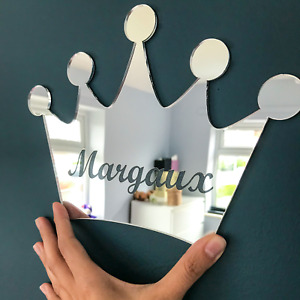 Personalised Crown Acrylic Mirror Nursery Kids Room Wall Sign Plaque Decoration