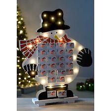 Pre-Lit Wooden Advent Calendar Warm White LEDs Santa Snowman Nativiy Star