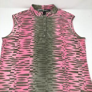 Jamie Sadock Sleeveless Top Large Pink Gray