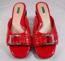 Alex Marie Womens Sandals Size 8.5 M Leather Patent Floral Embossed Wedges Red