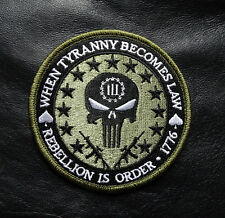 THREE 3%   PERCENTER REBELLION  TYRANNY TACTICAL 2nd HOMELAND IRON ON PATCH