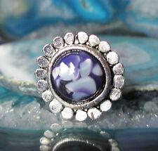 Anillo Estilo Vintage Plata De Tibet Flor Flores redonda Mejillón Nácar púrpura