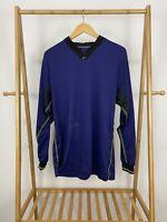 Nike Men's Center Check V-Neck Dri-Fit Soccer Athletic Long Sleeve Shirt Size L