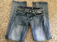 Vigoss Womens Jeans The New York Distressed Boot Cut Stretch Size 1